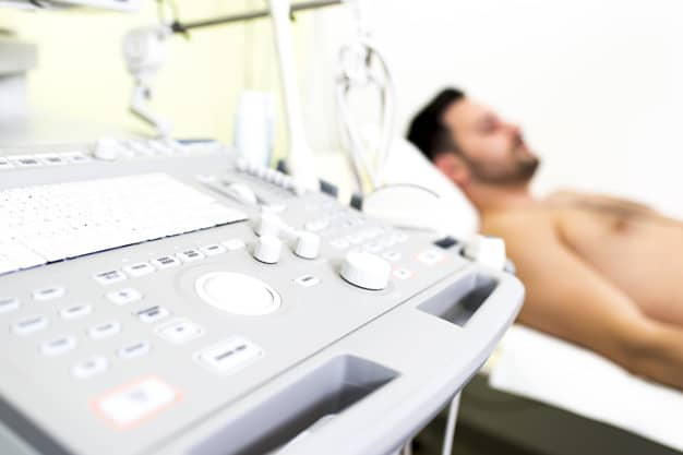 Young male patient in the ultrasound examination
